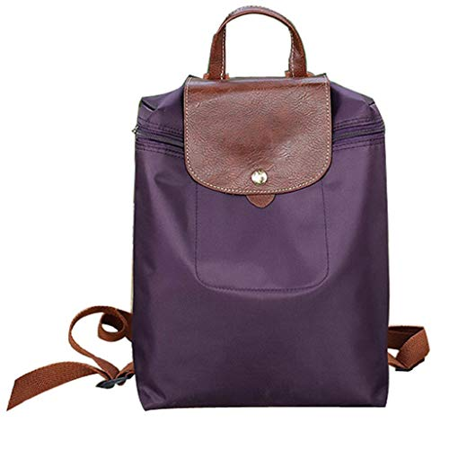 rtasche, Frauen Mädchen Falten Wasserdicht Rucksack Schultasche Nylon Reißverschluss Rucksack Schwarz Rot Blau Lila Grau ()