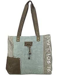 Sunsa Vintage Taschen - Bolso al hombro para mujer Beige beige hellblau Größe circa (BxHxT): 48x34x11 cm