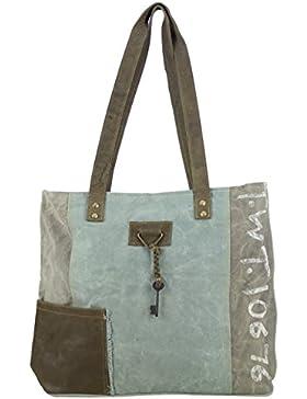 Sunsa Damen Vintage Tasche Shopper Schultertasche Handtasche aus Canvas & Leder