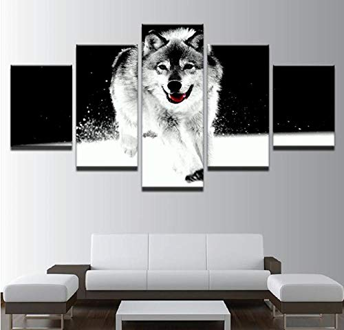 La Mode Affiche En Toile Art Mural Canvas Hd Print Poster Wall Painting 5 Animal Snow Wolf Picture Abstract Studio Decoration Picture Frame