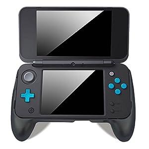 LeSB Nintendo New 2DS XL/LL Hand Griff, Anti Rutsch Schützenden Gripp Schutzhülle Hülle Case Cover mit Standfunktion für Nintendo New 2DSXL/LL (2017) – Schwarz