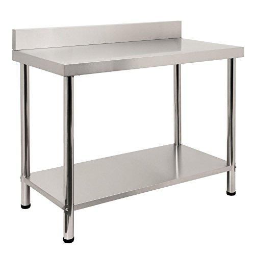Zelsius - Edelstahl Arbeitstisch, mit Aufkantung, Verschiedene Größen zur Auswahl ((B) 120 x (T) 60 x (H) 85 cm) -