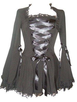 Schwarz (Blk Twilight Blouse) Gothic-Vampir Korsett Bluse mit (Empire Larp Kostüm)