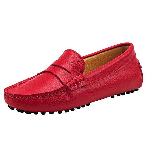 Shenduo Scarpe Donna - Mocassini Donna di pelle liscia comode loafers scarpe casual D7052 Rosso