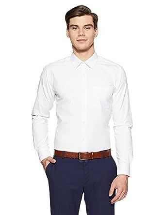 Park Avenue Men's Plain Slim Fit Formal Shirt (PMSX13552-W1_White_44)
