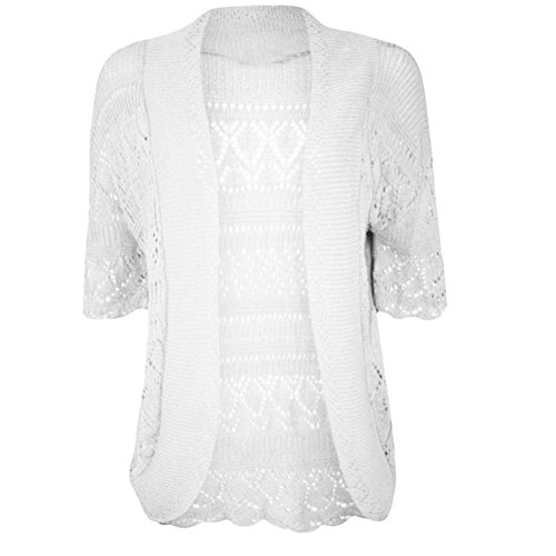 Janisramone femme Boléro shrug crochet tricot cardigan taille 8-24 Blanc - Blanc
