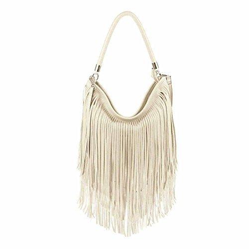design italiano Borsetta Da Donna Frange Shopper Hobo-Bags Borsa A Tracolla Borsetta Con Manici - Crema, 33x31x7 cm