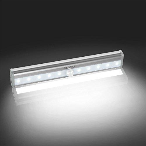 Aglaia Luz LED Recargable del Armario, Nocturna LED con Sensor de Movimiento, 10 LEDs Lámpara de Pared Automática con Batería Incorporada, Blanco Frío para Pasillo Baño