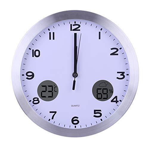 TETAKE Funkuhr - 30CM/12 Zoll Lautlos Wanduhr Funk Geräuschlos Wetterstation Außensensor mit Thermometer und Hygrometer Funkwanduhr für Küche/Wohnzimmer/Büro/Schlafzimmer