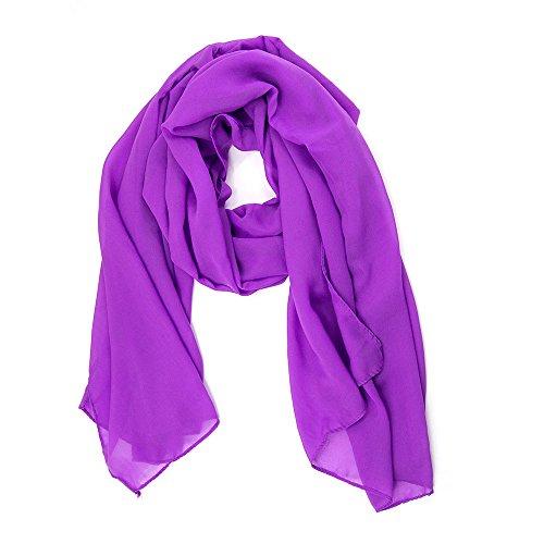 ManuMar Schal für Damen | feines Hals-Tuch in lila Unisex-Farben Uni-farben als perfektes Sommer-Accessoire | Das ideale Geschenk für Frauen