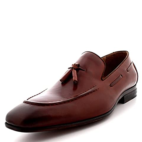 Queensbury Taylor Mens Loafer Moccasin Real Full Leather Tassel Driving Shoes - Tan Leather - UK10/EU44 - KK0008