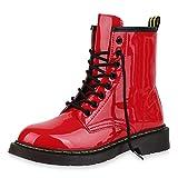SCARPE VITA Damen Stiefeletten Worker Boots Profilsohle Stiefel Outdoor Schuhe 173515 Rot Lack 38