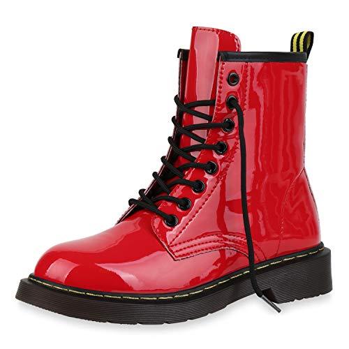 SCARPE VITA Damen Stiefeletten Worker Boots Profilsohle Stiefel Outdoor Schuhe 173515 Rot Lack 39
