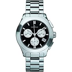 GROVANA 5096.9137 Unisex Quartz Swiss Watch with Black Dial Chronograph Display and Silver Stainless Steel Bracelet