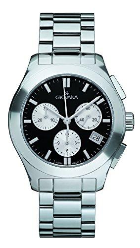 GROVANA 5096,9137 De cuarzo Swiss Unisex reloj infantil con mecanismo de esfera cronógrafo y plateado correa de acero inoxidable de