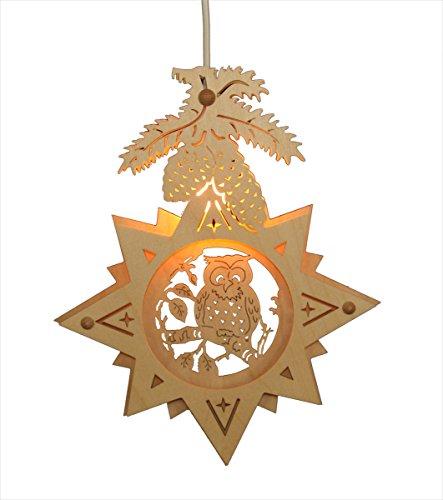 ERM Holzmanufaktur Fensterbild Eule im Stern - Weihnachten Advent Dekoration beleuchtete Weihnachtsdekoration aus Holz für die Weihnachtszeit