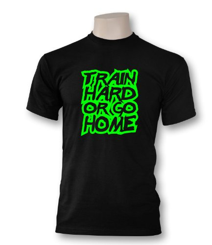 Luckja Herren T-Shirt Train Hard or go Home Schwarz / Neongrün