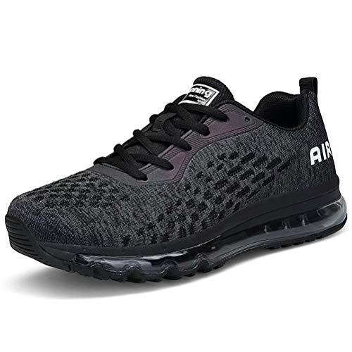 Turnschuhe Herren Laufschuhe Damen Sportschuhe Fitness Straßenlaufschuhe Sneaker für Running Outdoor(Schwarz,Größe 42) -