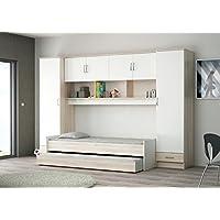 Schrankbett akazie grau / weiß B 308 Bett Wandbett Schrankbett Jugendbett Gästebett Jugendzimmer Kinderzimmer Gäste Studentenzimmer