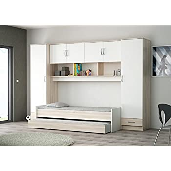 schrankbett smartbett klappbett 140cm horizontal wenge mit wei er front k che haushalt. Black Bedroom Furniture Sets. Home Design Ideas
