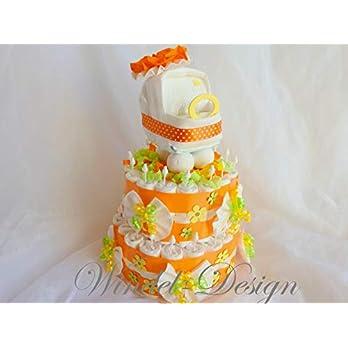 Windeltorte Windelwagen orange Geschenk, Babyparty, Geburt oder Taufe, auf Wunsch mit Grußkärtchen