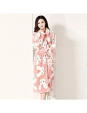 DMMSS Ladies accappatoio Coral Fleece Robe imbottito caldo camicia da notte in autunno e inverno flanella Abbigliamento...