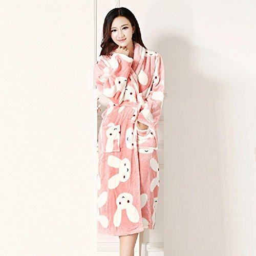 DMMSS Ladies accappatoio Coral Fleece Robe imbottito caldo camicia da notte in autunno e inverno flanella Abbigliamento Pigiami , 2 , l