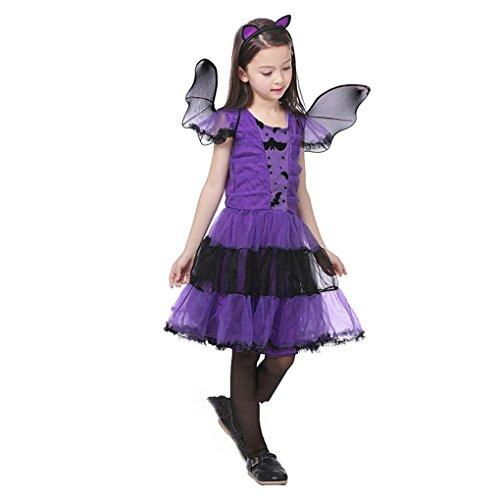 Junecat Kinder Mädchen Halloween Gothic Witch Bat Kostüme Kostüm Halloween Cosplay Fantasie Kleider