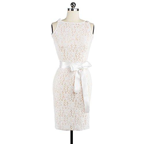 JOTHIN Frauen ärmellose Spitzenkleid Schlank Bleistiftrock/Schleife Partykleid Rückenfreie Brautjungfernkleid Weiß