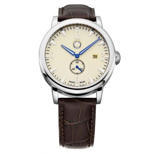 Mercedes-Benz Men's Watch Small second, beige / Brown Stainless Steel and Calf Leather