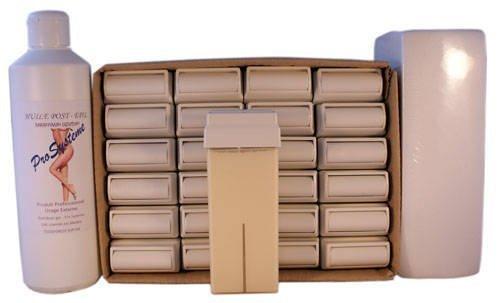 EPILWAX S.A.S - Lot De 24 Roll-On De Cire épilatoire Jetable Blanche, avec Roulette Grand Modèle pour les jambes, aisselles, et le corps, avec 250 Bandes et 1 flacon d'Huile après épilation.