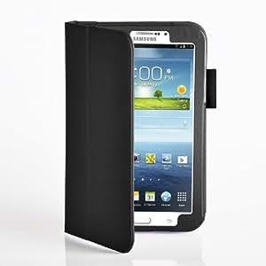 iHarbort Premium Leder Tasche Hülle Etui Schutzhülle Für Samsung Galaxy Tab 3 7.0 Zoll T210 T211 Case Holder (Galaxy Tab 3 7.0-Schwarz II)