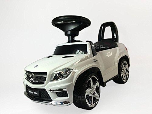 Rutschauto lizenzierte Mercedes GL63 AMG Rutschfahrzeug mit Ledersitz und Licht Kinderauto Rutscher Lauflernhilfe - Weiß