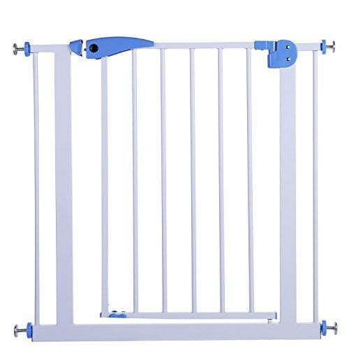Smibie Baby Sicherheits Tor deluxes hohes Extrahochdruck Ausdehnendes Metalltor passt Räume zwischen 29,9-33,5 Zoll Breite mit 11,8 Zoll Erweiterungs Installationssatz, weiß