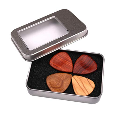 4Pcs Wooden Guitar Bass Mandolin Pick Plectrums Set Accessories with Iron Box