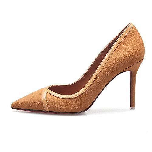 AalarDom Femme Dépolissement Stylet Pointu Tire Chaussures Légeres Couleur de Chameau-9CM