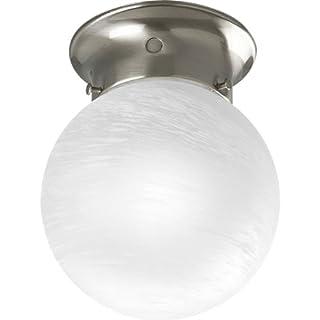 Progress Lighting P3401-09 Ceiling Fixture with White Glass Globe, Brushed Nickel by Progress Lighting
