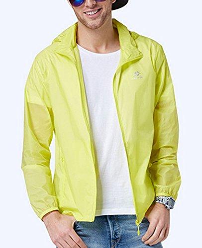 TECTOP Herren Windjacke Langarm Regenjacke Nylon Sommer Herrenjacke Wasserdicht Anti UV Wetterschutzjacke Jacke mit Kaputze asiatische Größe S M L XL XXL - Farbe Wählbar Gelb