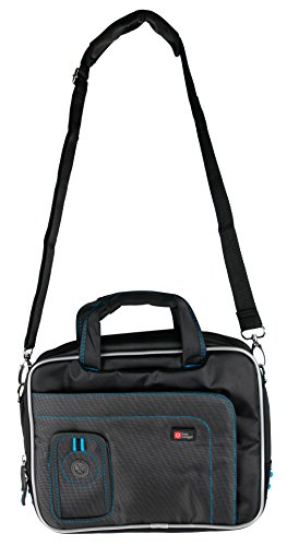 Schwarze Umhängetasche | Etui | Case | Schutzhülle | Transporttasche mit bequemen Schulterriemen, wasserabweisendes Material, verschiedene Fächer, für Aldi Medion Akoya E2218T Laptops (Blaue Naht)