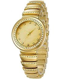 La Sra Inoxidable De La Manera Ocasional Shi Ying Mira Impermeable De Oro Banda Elástica Y Reloj De Pulsera De Diamantes De Dos Colores Plata