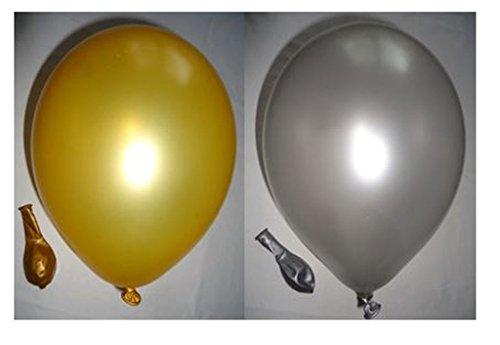 ons je 25 gold & silber Qualitätsballons 27 cm Ø (Standardgröße B85) (Luftballons Metallic Gold)