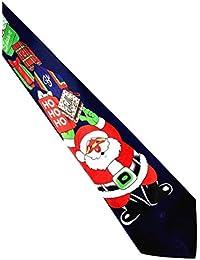 UJUNAOR Handgenähte Weihnachts Krawatte - in Verschiedenen Farben - Motiv Weihnachtsmann - Christmas Krawatte