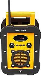 MEDION LIFE E66285 (MD 84815) Spritzwassergeschütztes Freizeitradio/Baustellenradio, IP44, UKW/MW Radio, Mono Lautsprecher 5 Watt RMS, Stabantenne, Batterie und Netzbetrieb, gelb