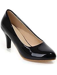 NobS Espejo Tacones Altos Cono Zapatos TacóN Pure Color Zapatos Gran TamañO 40-45 Round Toe , black , 33 (not returned)
