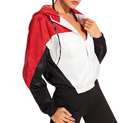 Damen Herbst Hoodies Frühling Mädchen Kapuzenjacke Colorblock Sport Sweatshirt Kapuzenpullover Kapuzenjacke Hoodie Bluse Skinsuits Sport Mantel (Halloween 2019 Primark)