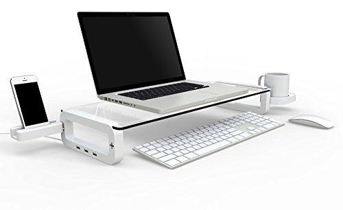 iTrend Ständer für Monitor/Laptop mit 3Eingebautes USB 2.0Hub, Tasse und Smart Phone Halter-Weiß