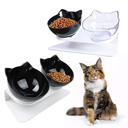 strety Doppelter Katzen Futternapf Katzennäpfe Wasser Schüsseln Schutz Von Nacken Oder Rücken Haustier rutschfeste Basis Futterschüssel Mit Erhöhtem Ständer Für Katzen Und Hunde -