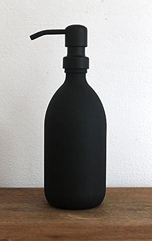 Noir texturé Bouteille Distributeur de savon en verre 500ml avec