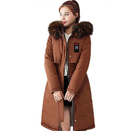 TEBAISE Damen Winterjacke Wintermantel Lange Daunenjacke Jacke Outwear Warm Daunenmantel Solide Lässig Dicker Slim Down Mit Fellkapuze Steppjacke