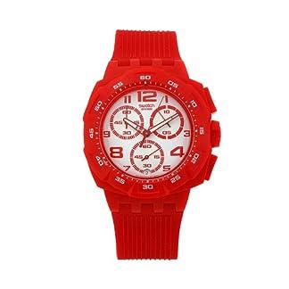 Swatch SUIR400 – Reloj cronógrafo de caballero de cuarzo con correa de plástico roja